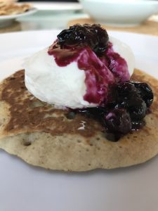 Pancake with Yoghurt and Blueberries on top