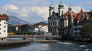 Lucern-Cityscape showing river running through