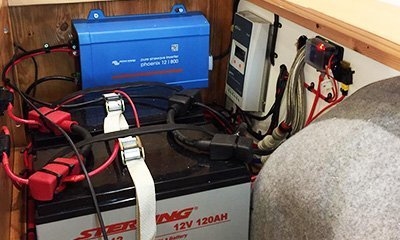 2x1200AH batteries and inverter to power out off grid camper van
