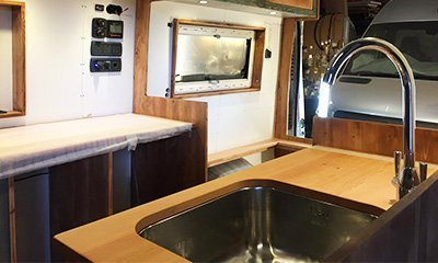 inside of van showing units and window