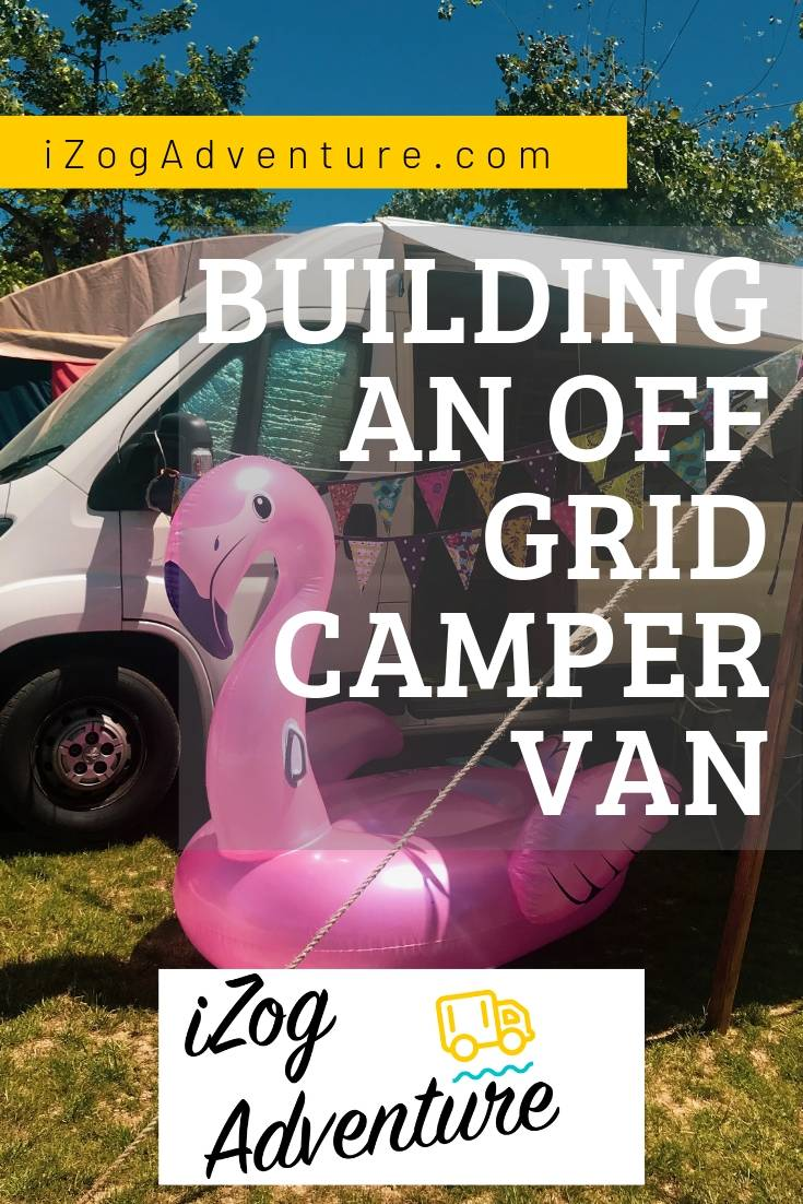 Pinterest image showing a camper van with a large inflatable flamingo outside